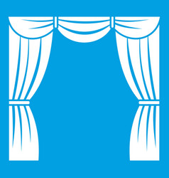 Curtain on stage icon white vector