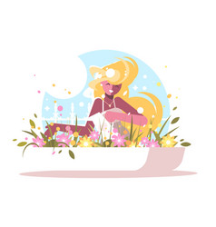 cute blonde watering home flowers vector image