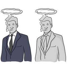 Dead businessman smoking with halo on his head vector
