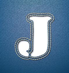 Denim jeans letter J vector image