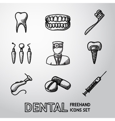 Dental handdrawn icons set vector