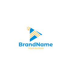 Digital play arrow logo design vector