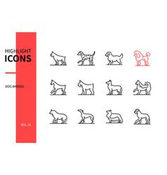 dog breeds - modern line design style icons set vector image