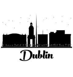 Dublin City skyline black and white silhouette vector image