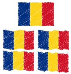 Flat and Waving Hand Draw Sketch Flag of Romania vector