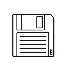 floppy disk linear icon hd diskette old data media vector image