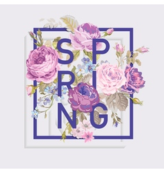 Floral Spring Graphic Design - for t-shirt fashion vector image