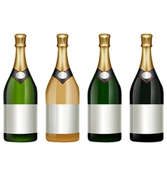 Four champagne bottles with golden lid vector