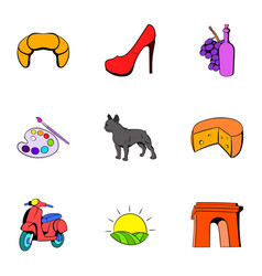 french symbol icons set cartoon style vector image vector image