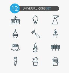 gardening icons set with tree flowerpot stump vector image