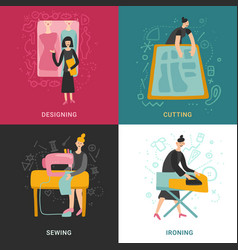 Garment factory 2x2 design concept vector