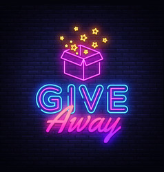 Give away neon sign design template vector