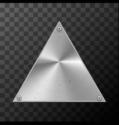glossy metal industrial plate in triangle shape on vector image