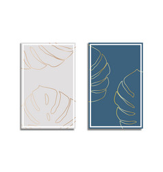 Gold monstera tropical plant leaves abstract vector
