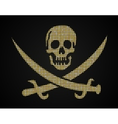 Gold skull Pirate flag Sequins object vector