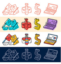 hand draw business dollar job computer icon set vector image