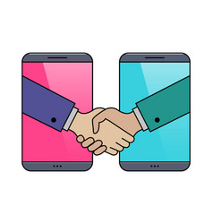 Hand shaking smartphones outline icon vector