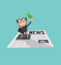 Happy and successful businessman in financial news vector