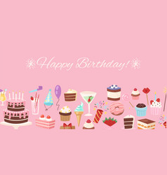 happy birthday pink festive banner vector image