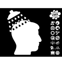 Head Shower Icon with Tools Bonus vector image