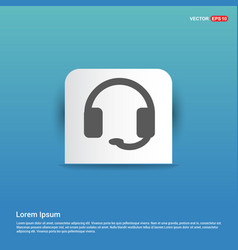 headphone icon - blue sticker button vector image