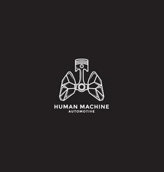 Human machine automotive logo design template vector