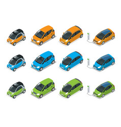 Isometric hybrid electric and mini cars city vector
