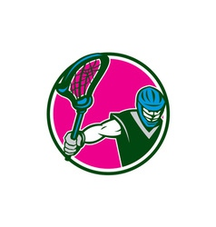 Lacrosse Player Crosse Stick Circle Retro vector image