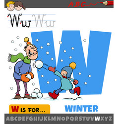 Letter w from alphabet with winter season vector