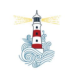 Lighthouse among waves vector