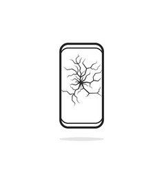 linear broken cracked black phone vector image