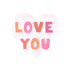 love you - fun hand drawn nursery poster with vector image