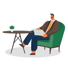 Man reading newspaper in coffeehouse alone vector