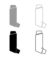 Manual inhaler icon set grey black color vector