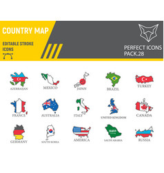 Map country color line icon set country flag vector