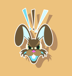 Paper sticker on theme evil rabbit animal vector