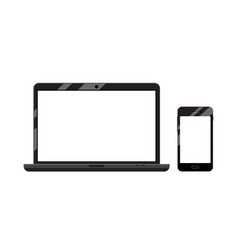 phone and laptop devices with blank screens vector image