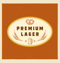 premium lager abstract beer sign symbol or vector image