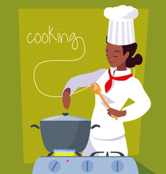 Professional chef female cooking with pot in stove vector
