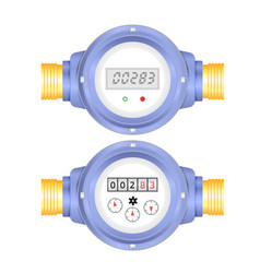 Realistic electronic and analog water meter vector