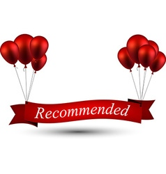 Recommended red ribbon background with balloons vector