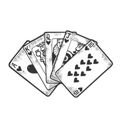 Royal flush sketch engraving vector
