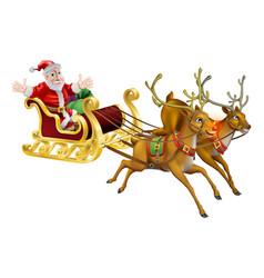 santa christmas sled vector image