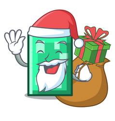 Santa with gift rectangle mascot cartoon style vector