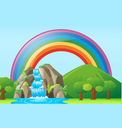 Scene with waterfall and rainbow vector