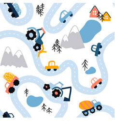 seamless highlands road map pattern in vector image