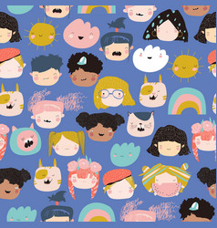 seamless pattern kids faces on a white vector image
