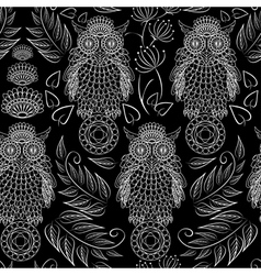 Seamless pattern with lace decorative owls vector
