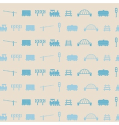 Seamless pattern with railroad icons vector image