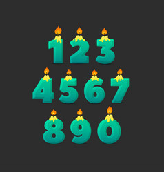 set colorful birthday candle numbers wick and vector image